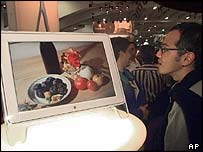 Shopper viewing a flat screen television