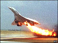 Concorde on fire in Paris
