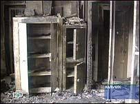 Внутри сгоревшего здания дежурной части в Нальчике (съемки НТВ)