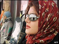 Woman at a ski resort in Iran
