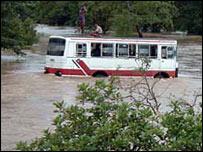 SL Army bus stuck on the Polonnaruwa-Batticaloa highway