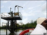 Shell's Soku oil well in the Niger Delta area of Nigeria