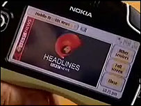 A news report on a mobile phone