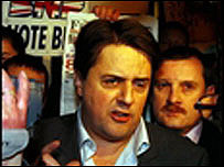 Nick Griffin leaving Halifax Police Station