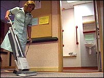 A cleaner at work