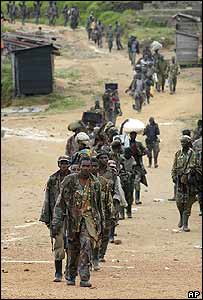 Renegade soldiers in Kanyabayonga in eastern DR Congo on Tuesday