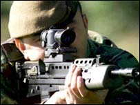 A soldier with an SA-80 rifle