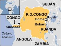 Mapa de la República Democrática del Congo