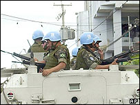 UN peacekeepers patrol the Cite Soleil district in Haiti