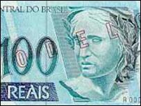 Modelo de billete de 100 reales brasileños.