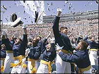Cadets at the Air Force Academy in Colorado Springs celebrate graduation on 1 June 2005