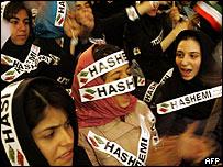 Iranian schoolgirls at rally for Rafsanjani in Tehran