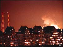 Belgrade during bombing in 1999