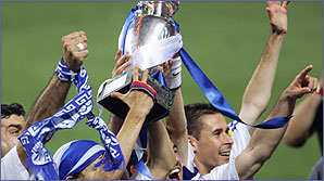 Greece celebrate their Euro 2004 victory