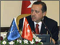 Turkey Prime Minister Recep Tayyip Erdogan with the EU and Turkish flags