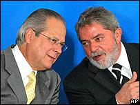 José Dirceu, izquierda, y Luiz Inácio Lula da Silva