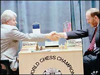 Boris Spassky and Bobby Fischer at their rematch