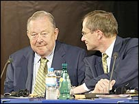 Uefa president Lennart Johansson and chief executive Lars-Christer Olsson