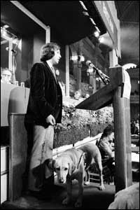 Mr Blunkett with guide dog.