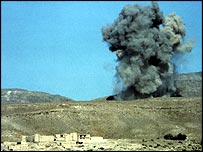Aerial bomb explodes in Afghanistan during the Soviet occupation (photo: Jason Elliot)