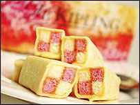 A plate of Battenberg cakes