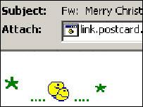 Screengrab of Zafi-D Christmas card, F-Secure