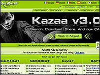 Kazaa website screen grab