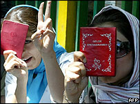 Two girls cast their vote in Tehran, Iran