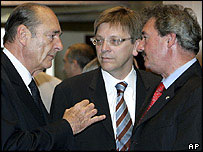 French President Jacques Chirac (left) with Belgian Prime Minister Guy Verhofstadt (centre) and Luxembourg Foreign Minister Jean Asselborn