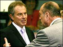 Tony Blair (left) and Jacques Chirac