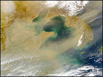 Dust over Korea, SeaStar/SeaWiFis/Nasa