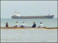 Cambridge rowers in training off Kent