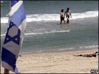 Israeli settlers on the beach in the Gush Katif settlement, Gaza Strip
