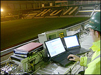 Image of a researchers monitoring a concert in a stadium