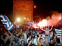 Greek football fans celebrate Euro 2004 success in Thessaloniki, June 04