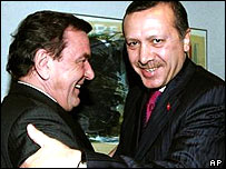 Turkish Prime Minister Recep Tayyip Erdogan, right, embraces German Chancellor Gerhard Schroeder at the EU Council building in Brussels