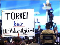 German with placard against Turkey's EU accession
