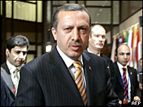 Turkish Prime Minister Recep Tayyip Erdogan arrives for a second day of talks in Brussels