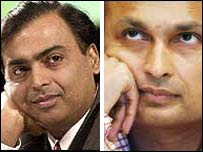 Mukesh (left) and Anil Ambani