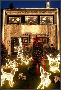 a house spangled with hundreds of lights and christmas decorations is seen in schwanewede northern