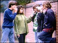 Youths smoking