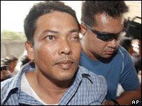 Wae-usoh Waedueramae, left, one of the four suspected militant leaders who was captured earlier this week ( Friday 17 Dec)