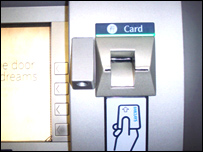 A skimming machine installed on a Barclays machine