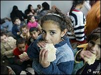 Palestinians sheltering at a Khan Yunis hospital
