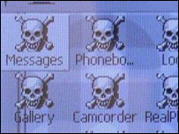 Screengrab of Skulls phone virus, F-Secure