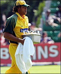 Andrew Symonds is Australia's drinks carrier
