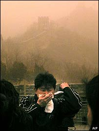 Dust at the Great Wall of China near Beijing