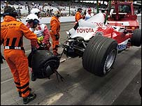 Ralf Schumacher escaped unhurt after crashing his Toyota into a wall