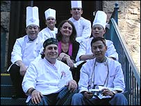 Fuchsia Dunlop (centre) with the chefs