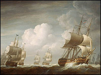 A convoy of East India merchant ships
